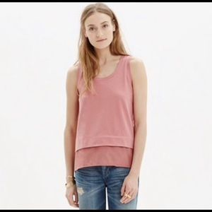 Madewell dusty rose tank top with silk bottom